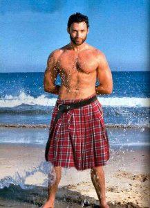 Hugh Jackman wearing traditional kilt